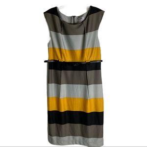 SHELBY & PALMER Stripe Belted Career Dress